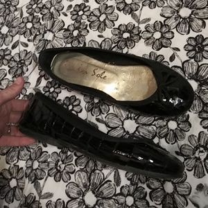 LONDON SOLE Black Patent Leather Ballet Flats 36